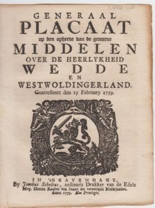 GENER PLACAAT OD GEMEENE MIDD 1759 1