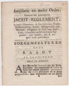 Jacht reglement 1738