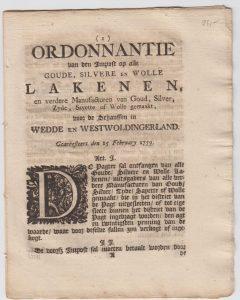 ORDONN OD GOED, ZILVER, ETC 1759 VB