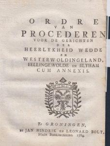 ORDRE VAN PROCEDEREN W&W 1749  vb 1