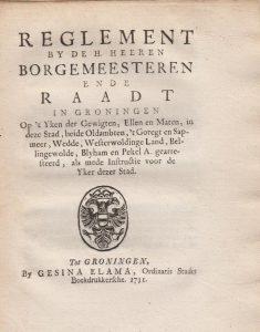 REGL OH IJKEN VAN GEWICHTEN, ETC.1731 1