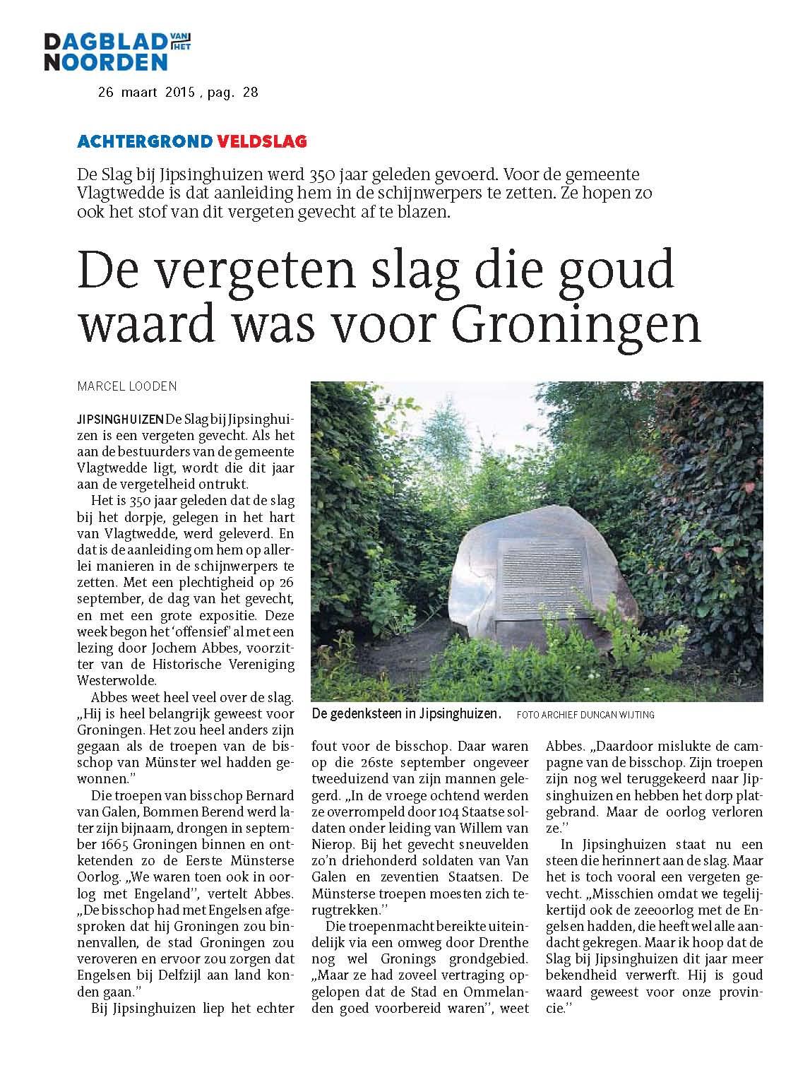 20150326 De vergeten slag die goud waard was voor Groningen